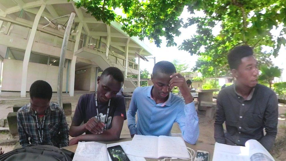 Students studying Swahili at the University of Dar es Salaam in Tanzania