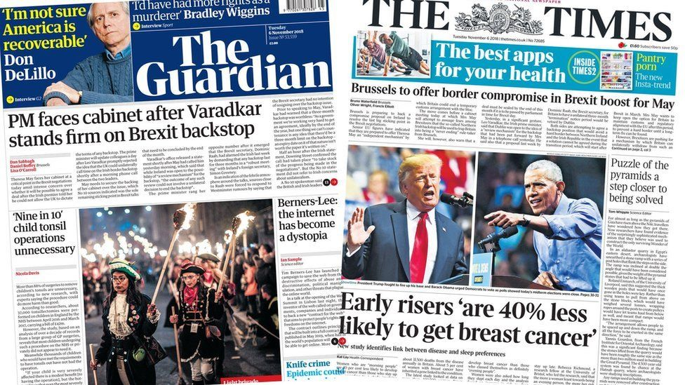 The Guardian and the Times front page