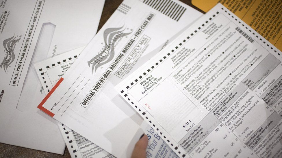 A mail-in ballot for Miami, Florida, is pictured here, spread across a table