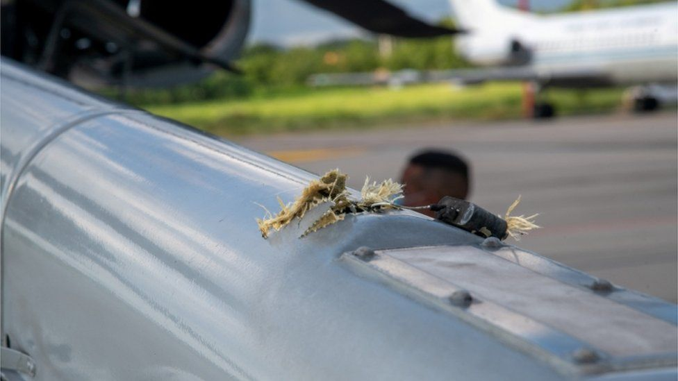 A handout photo of the helicopter that was carrying the president when it was hit by gunfire