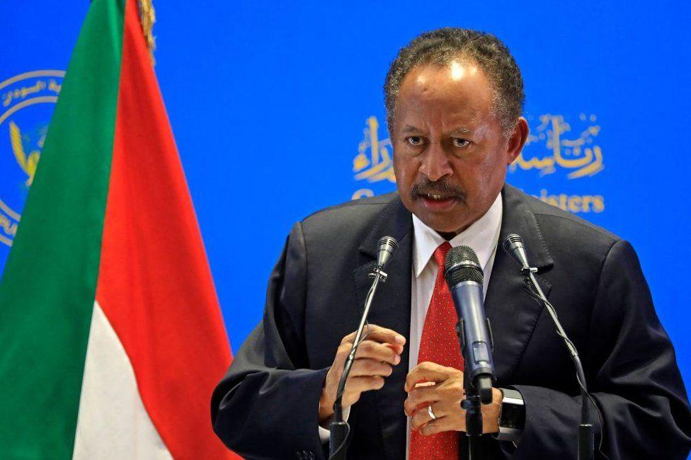 Sudanese Prime Minister Abdalla Hamdok at a conference in April 2021.
