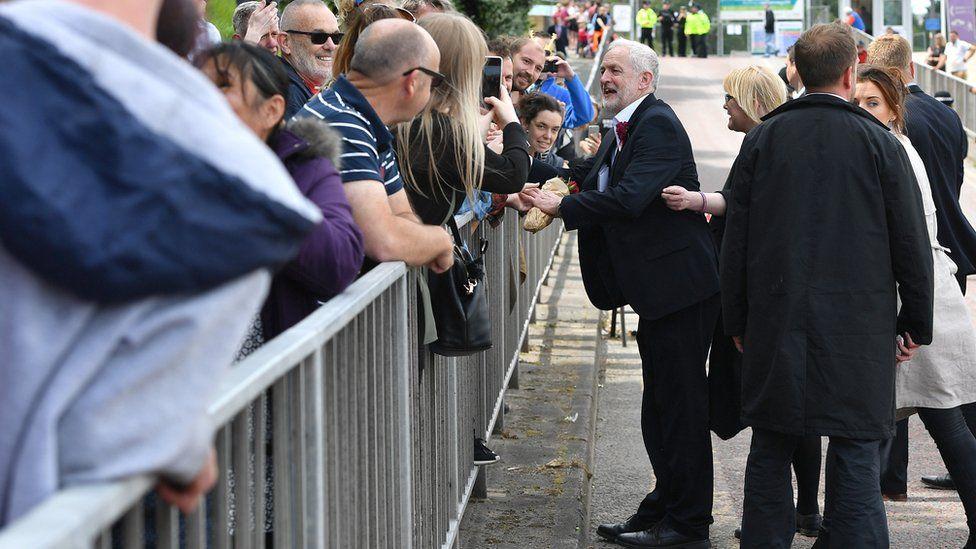 Jeremy Corbyn at Labour rally in Colwyn Bay
