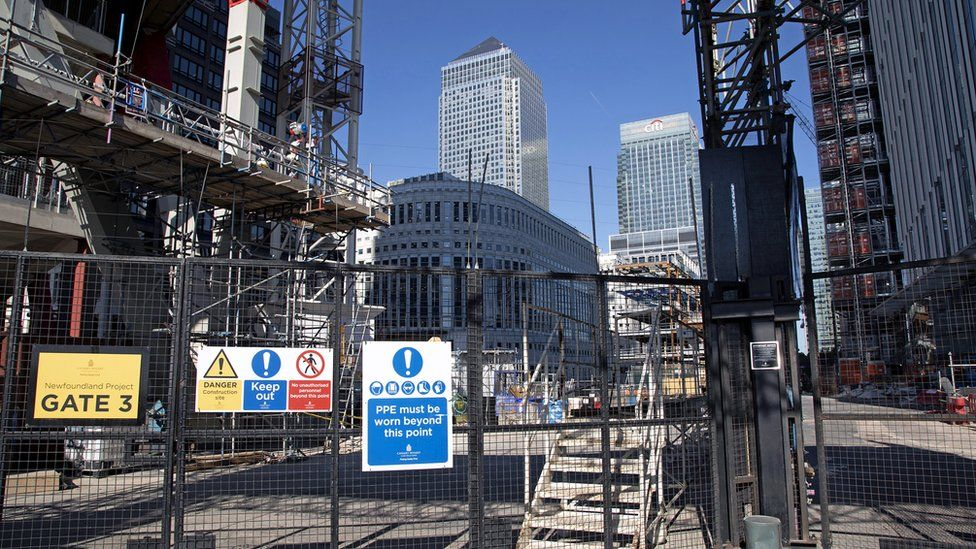 Construction site at Canary Wharf financial district in London
