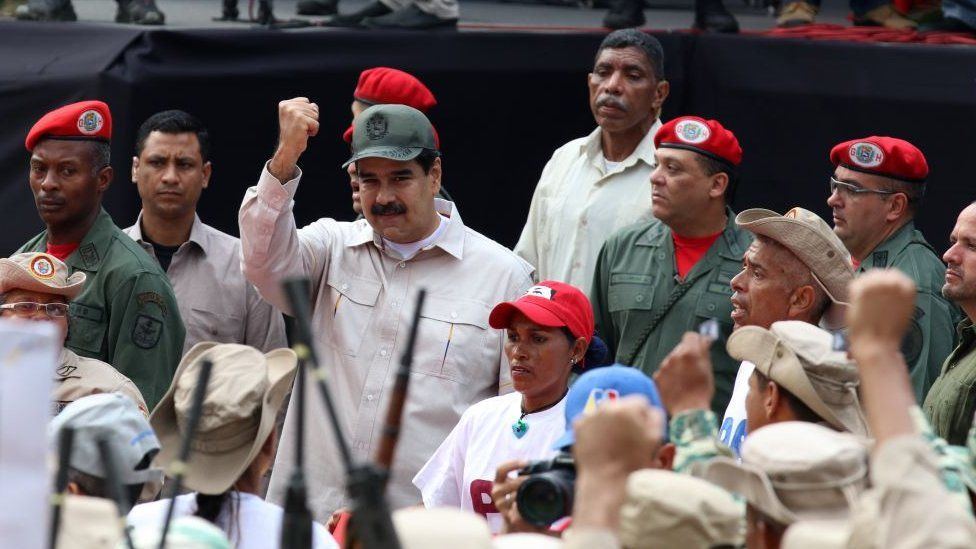 Nicolas Maduro attends a military parade on 'National Bolivarian Militia Day' at Los Proceres in Caracas, Venezuela, on April 13, 2019