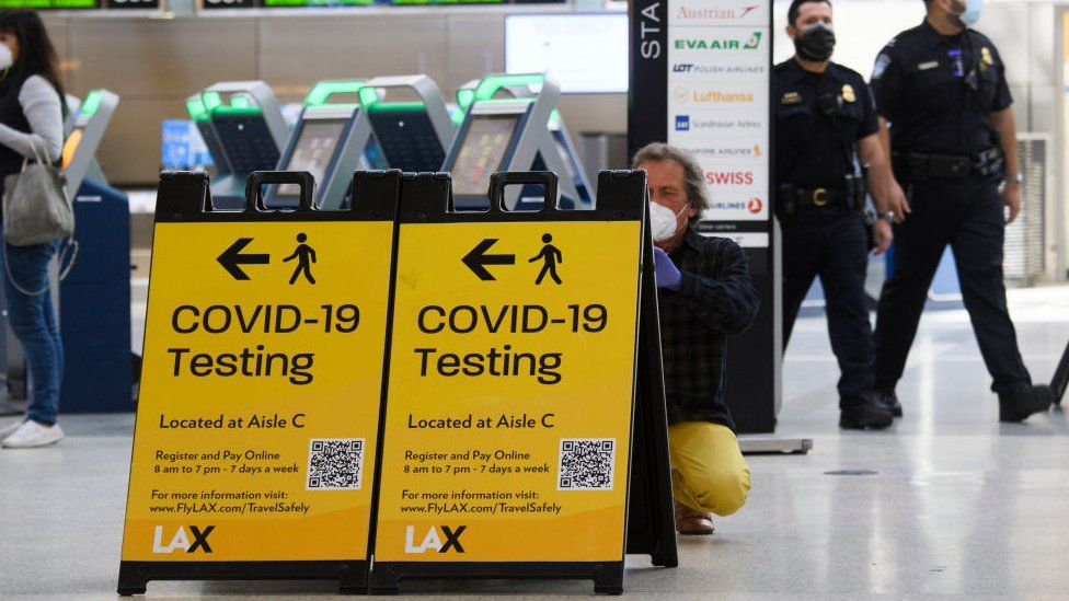Covid signs at Los Angeles International Airport on 4 February 2021