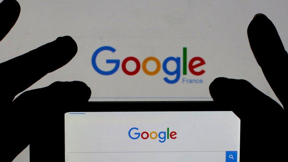 File image of smart phone displaying Google home page