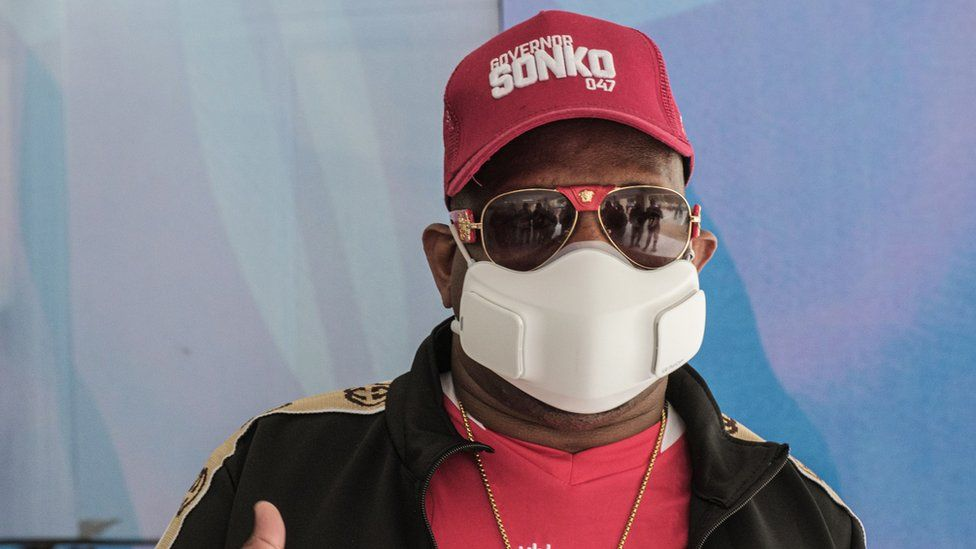 Nairobi's Governor Mike Sonko arrives for the official opening of renovated Nyayo National Stadium with 45,000 seat capacity after being closed for 3 years in Nairobi, on September 26, 2020.