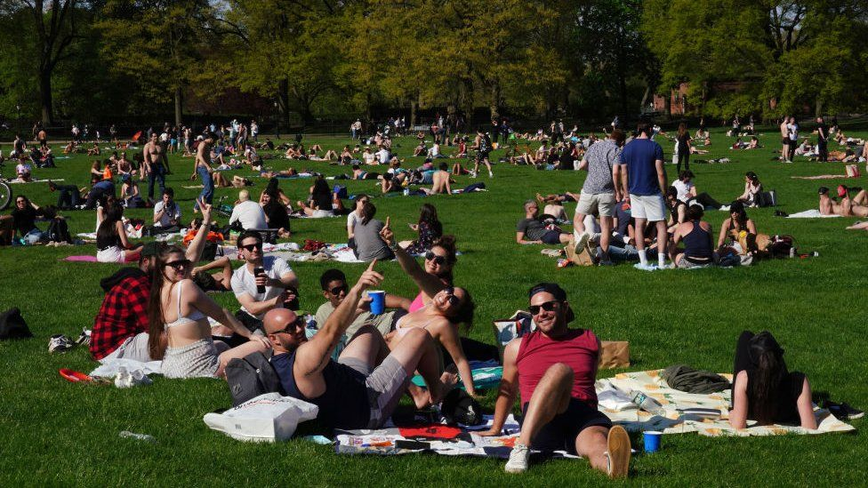 People relaxing in Central Park