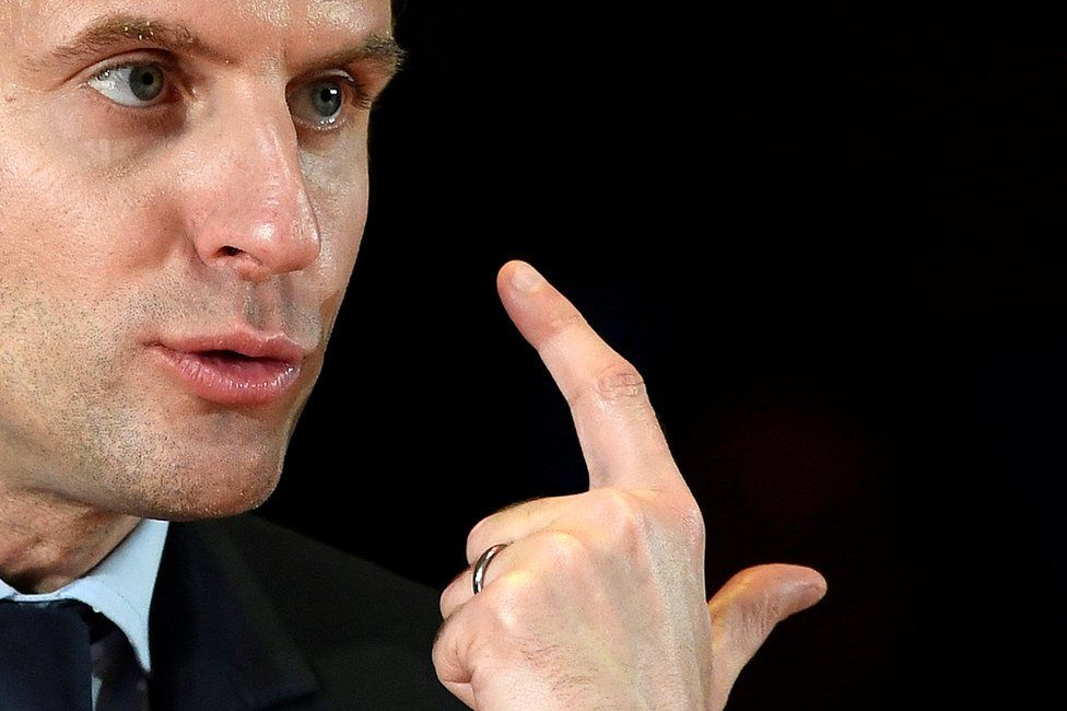 Emmanuel Macron, candidate in France's 2017 French presidential election, delivers an address for French nationals in London, Britain, 21 February