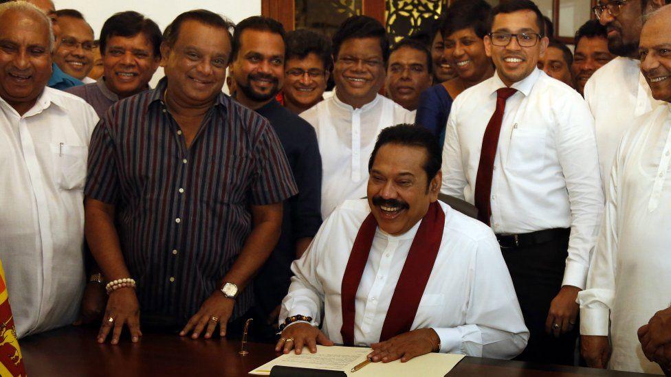 Former Sri Lankan President Mahinda Rajapaksa signed his resignation on 15 Dec 2018