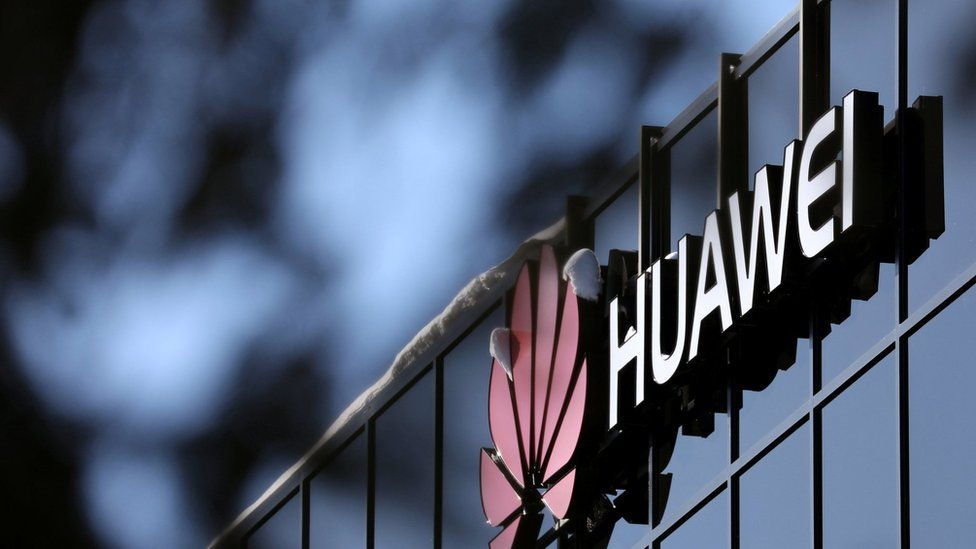 The Huawei logo outside their research facility in Ottawa, Ontario, Canada