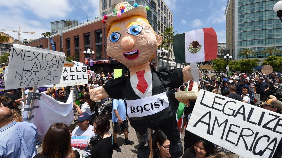 Protesters take to the streets in San Diego during a Donald Trump rally.
