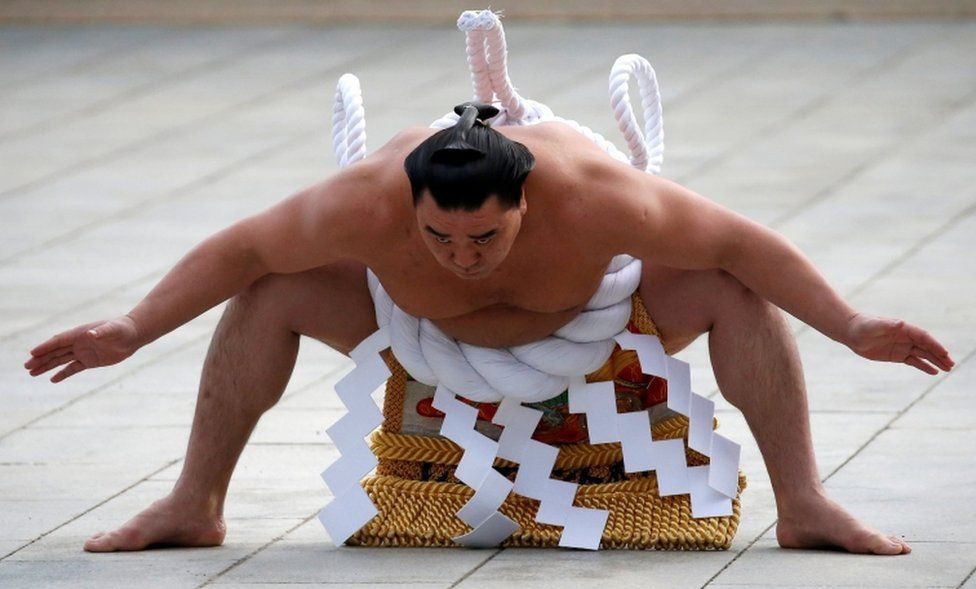 Grand sumo champion Yokozuna Harumafuji performs the New Year's ring-entering rite at the annual celebration for the New Year at Meiji Shrine in Tokyo, Japan on 6 January, 2017