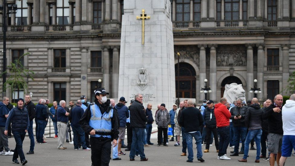 Activists congregated at the cenotaph in George Square in Glasgow