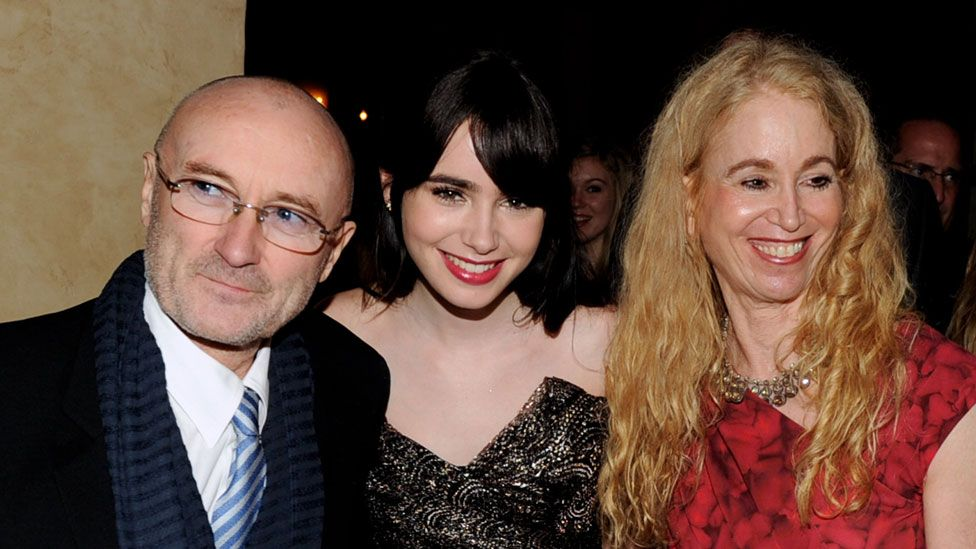 Lily Collins with parents Phil Collins and Jill Tavelman