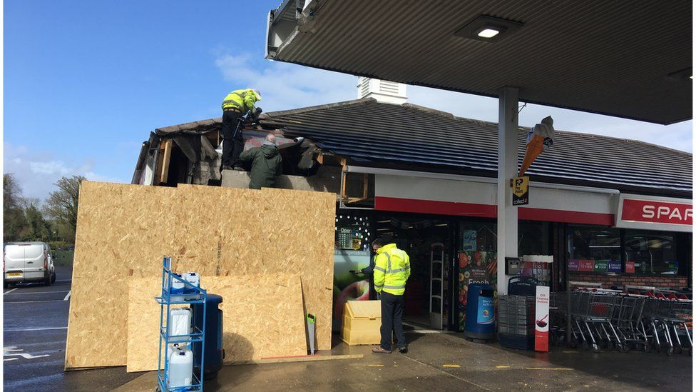 repair work taking place at filling station in Irvinestown
