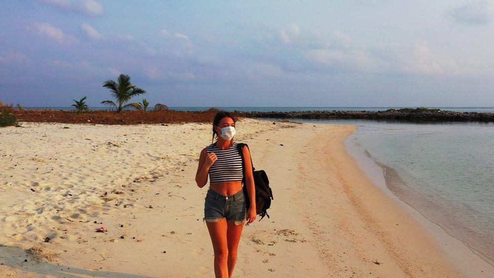 Woman on a beach in Thailand