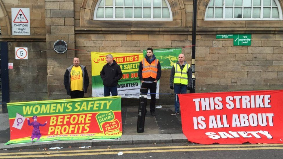 Picket line outside Newcastle Central Station