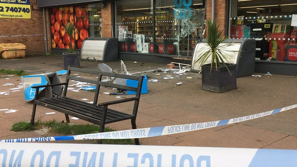 The damage outside the front of the Co-op food store in Kessingland
