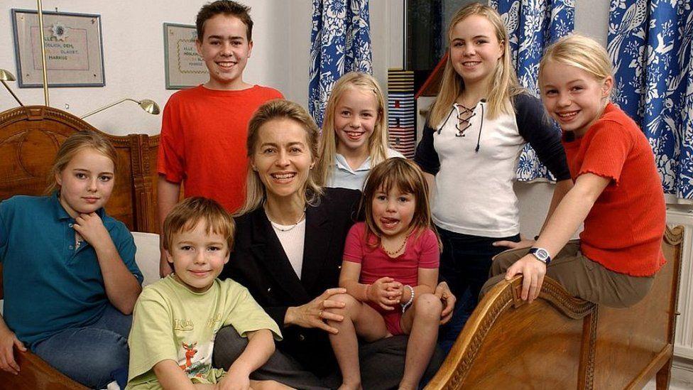 Ursula with her seven children in October 2003