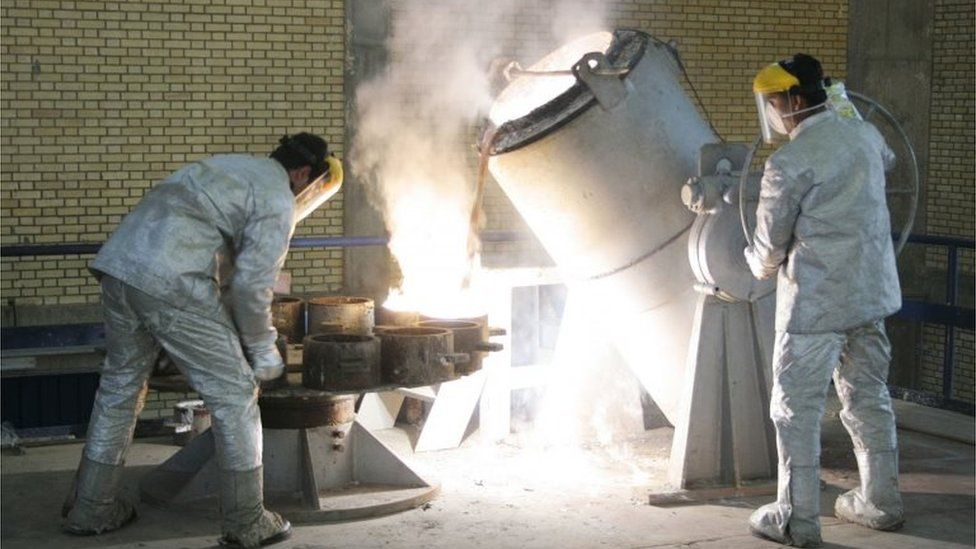 Workers at a uranium conversion facility outside Isfahan (file photo)