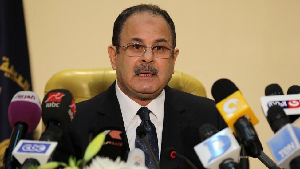 Egyptian Interior Minister Magdy Abdul Ghaffar speaks during a news conference in Cairo on 6 March 2016