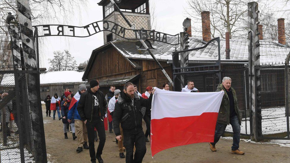 Ultra-nationalists marching at Auschwitz, 27 Jan 19