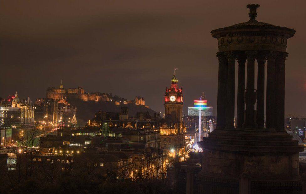 Edinburgh's Christmas skyline from the top of Calton Hill