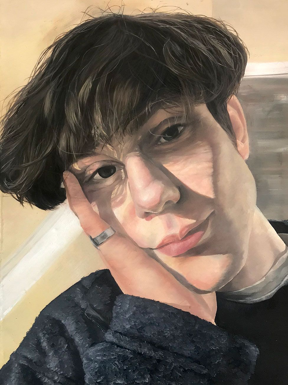 A painting of a young person
