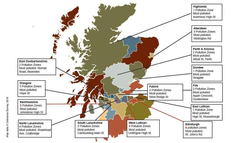 Map of Scotland's air pollution zones