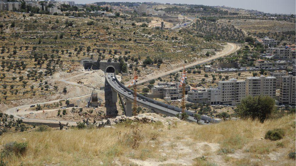 Bridge construction seen from Beit Jala