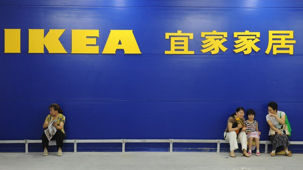 Chinese customers outside the Ikea store in Nanjing