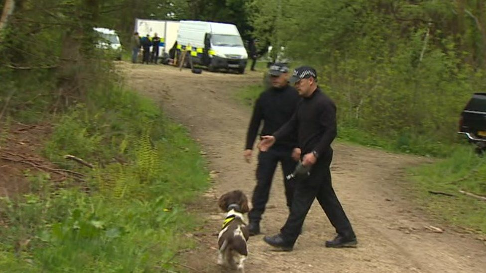 Police search woods