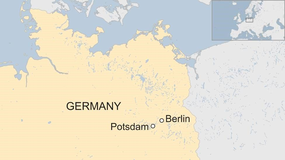 Map of Germany showing Potsdam and Berlin