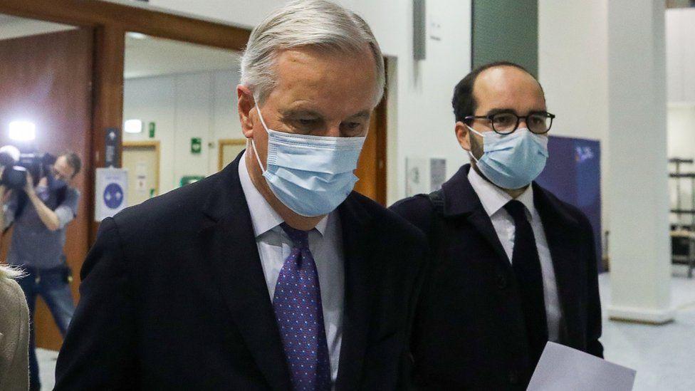 Michel Barnier arrives at European Parliament