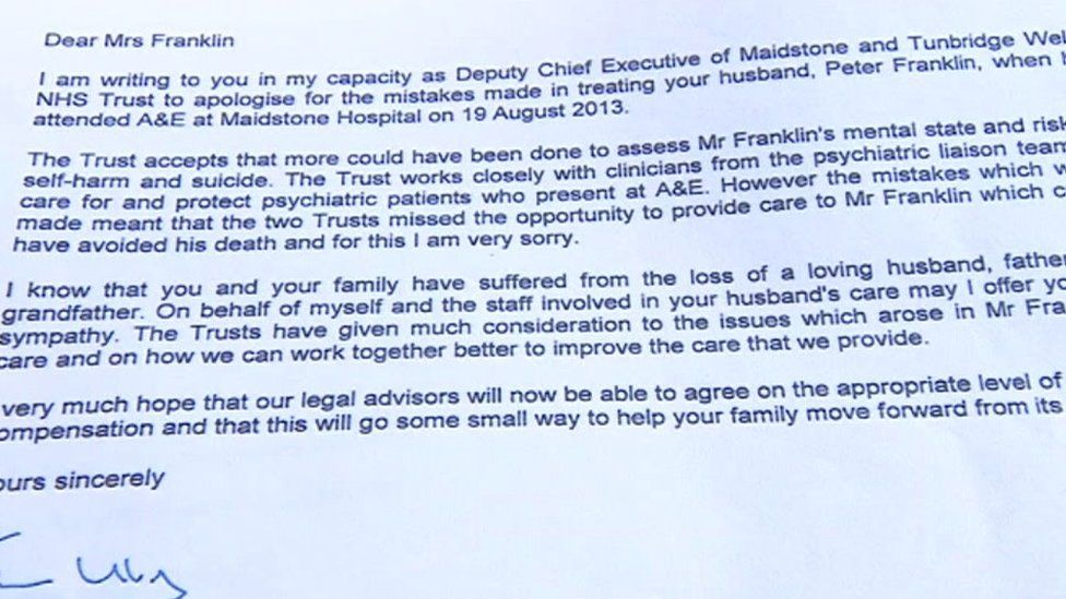 Letter from Maidstone and Tunbridge Wells NHS Trust