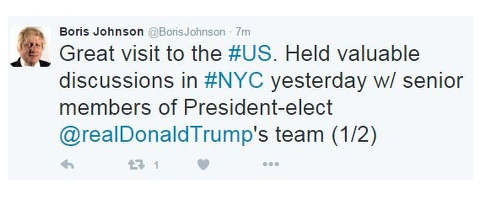 """Boris Johnson tweets: """"Great visit to the US. Held valuable discussions in NYC yesterday w/ senior members of president-elect @realDonaldTrump's team"""""""