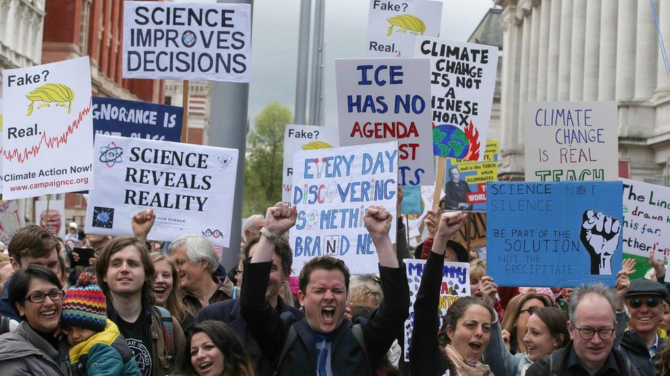 Scientists and science enthusiasts gather for the March for Science outside the Science Museum in central London, 22 April 2017