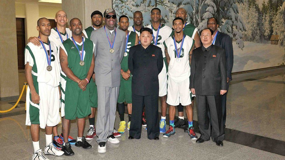 Rodman and other NBA players with Kim Jong-un