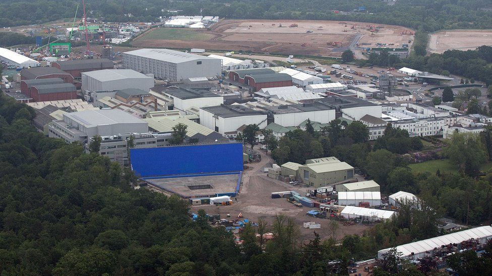 Pinewood Studios is pictured from a helicopter on June 13, 2015 in London, England