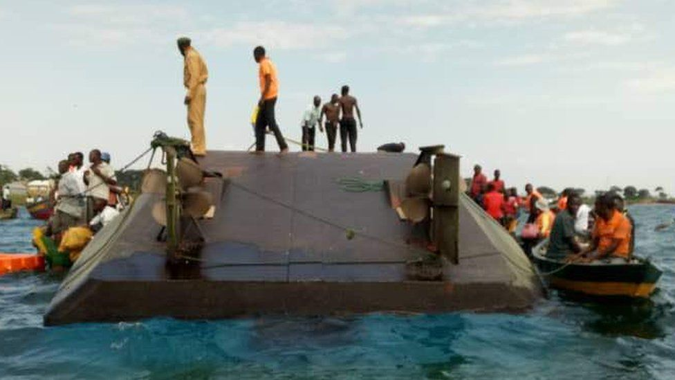 Rescue efforts at the scene of a capsizing in Lake Tanzania