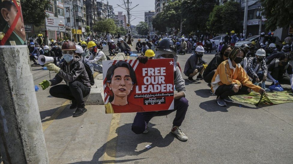Demonstrators during a protest against the military coup in Yangon, Myanmar, 06 March 2021