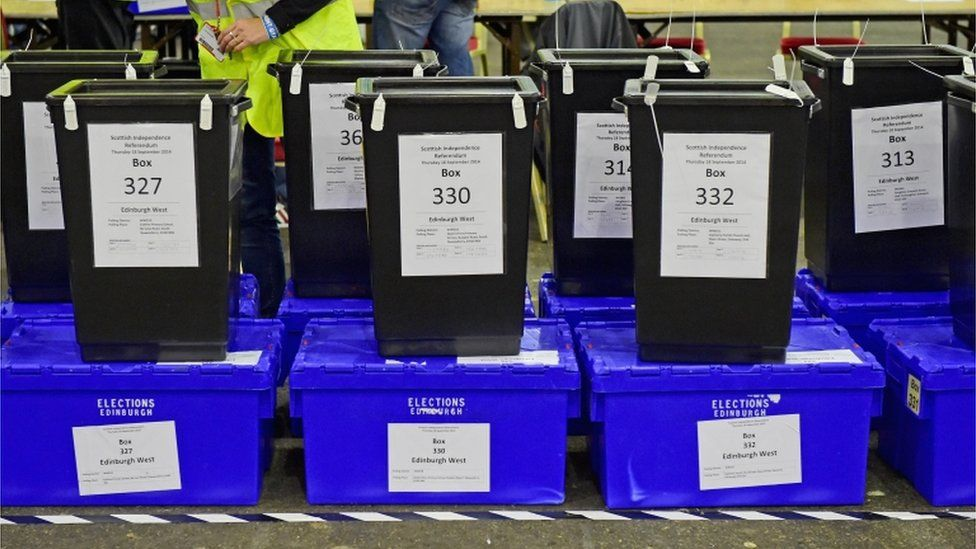 Independence referendum ballot boxes