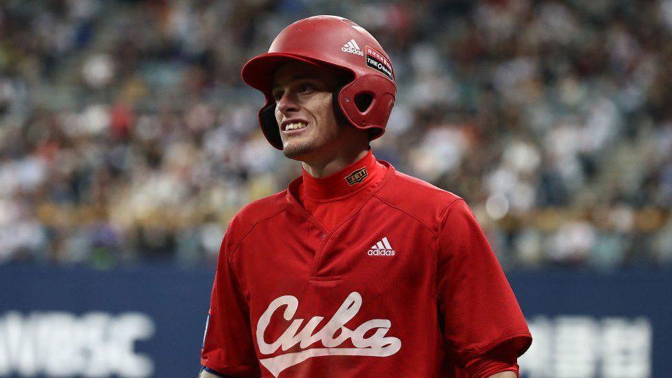 Infielder Cesar Prieto #6 of Cuba reacts in 2019 game
