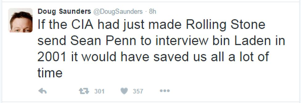 """A tweet reads: """"If the CIA had just made Rolling Stone send Sean Penn to interview bin Laden in 2001 it would have saved us all a lot of time"""""""