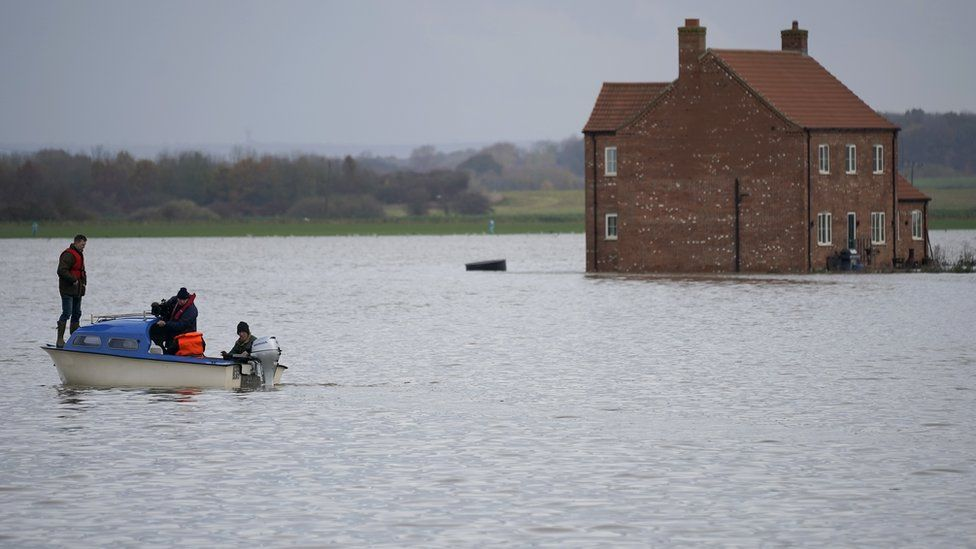 A flooded farm in Lincolnshire