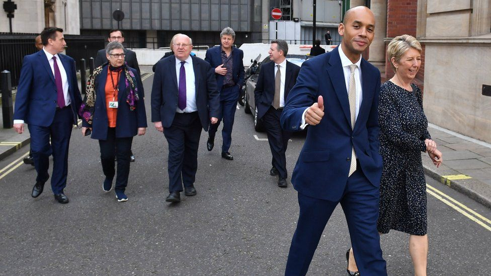 Chuka Umunna and Angela Smith (foreground) with Gavin Shuker, Ann Coffey, Mike Gapes and Chris Leslie (background)
