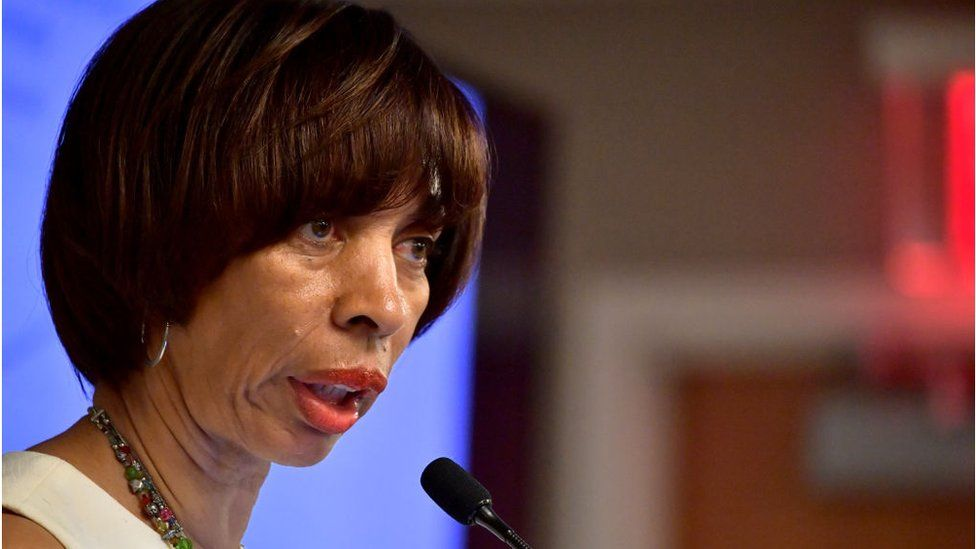 Baltimore Mayor Catherine Pugh speaks at a session on Housing Affordbility the US Conference of Mayors on June 8, 2018