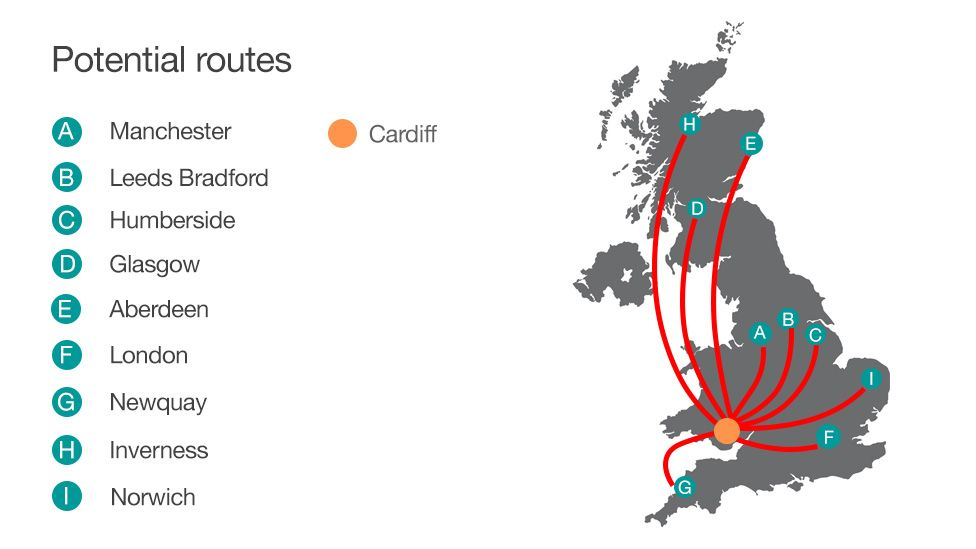 Map of potential Cardiff UK air routes