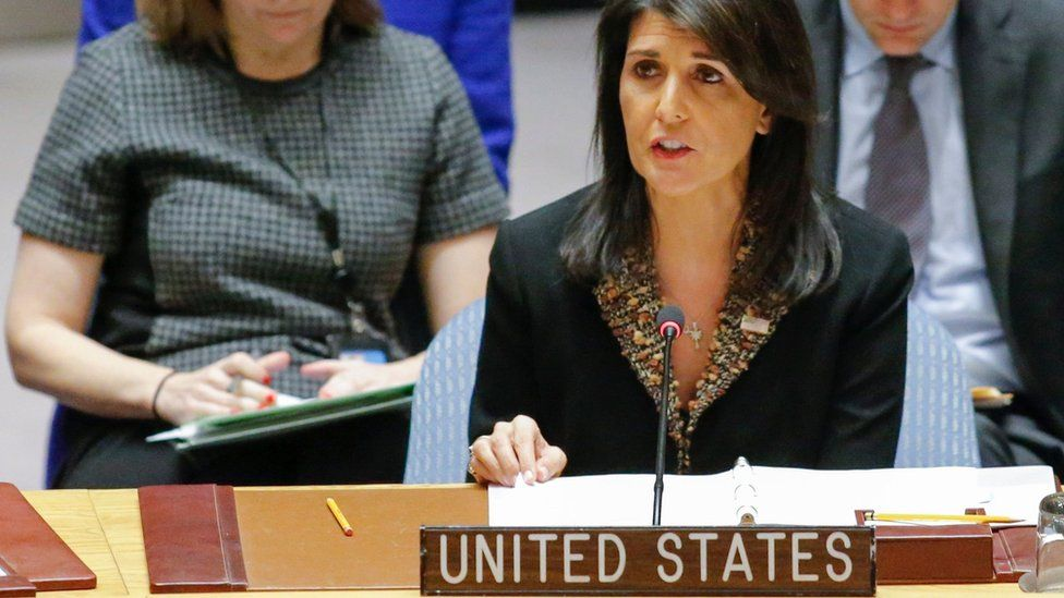 Nikki Haley addresses the UN Security Council in New York on 18 December 2017